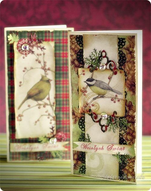 kartki świąteczne vintage z ptaszkami 1