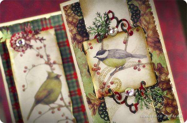 kartki świąteczne vintage z ptaszkami 3