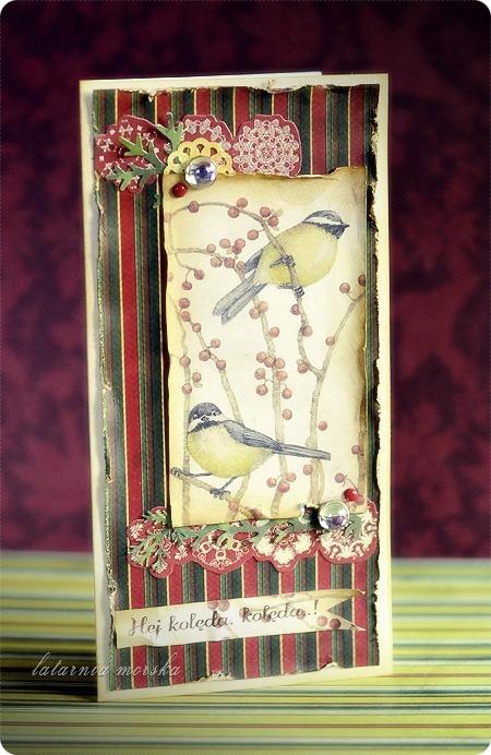 kartki świąteczne vintage z ptaszkami 4