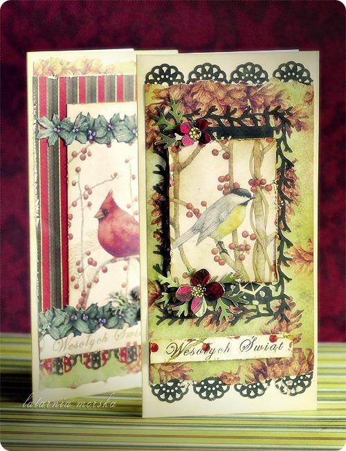 kartki świąteczne vintage z ptaszkami 5
