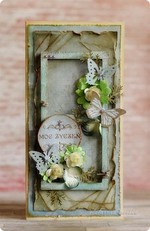 kartka ręcznie wykonana z kwiatami